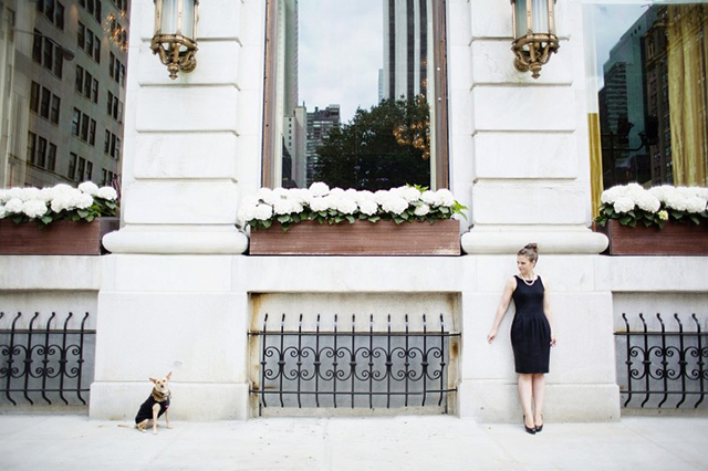 Williamson and Holly posing in front of the Tiffany store. Photo Credit: Seriously Sabrina Photography