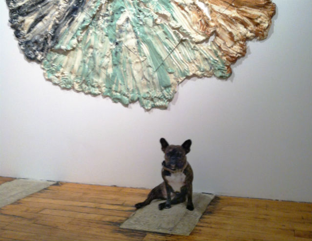 """Brie Ruais """"Four-Armed Compass (X Torn from two people's combined body weight in clay),"""" 2013 in XO at Nicole Klagsbrun."""