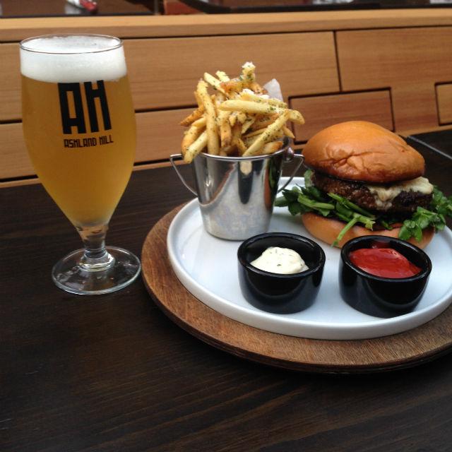 Burger and beer. Image via Ashland Hill