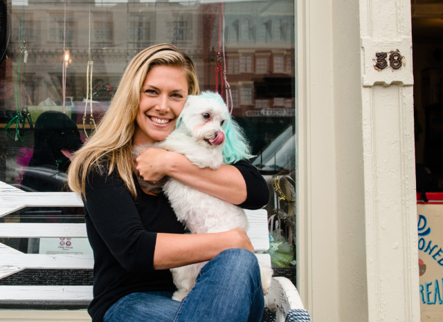 Founder Amanda Zink and one of her frequent visitors